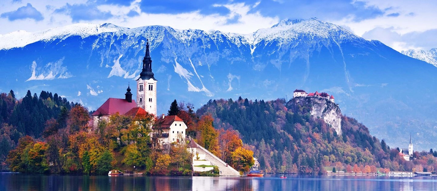 Building on lake bled in Slovenia